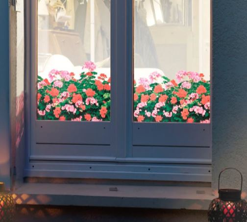 Raamfolie design decor DD 032 Geranium - folie bloem