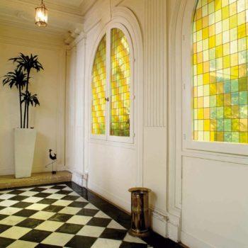 Raamfolie design decor DD 036 Geel -glas in lood